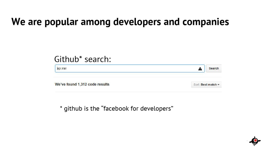 We are popular among developers and companies *...