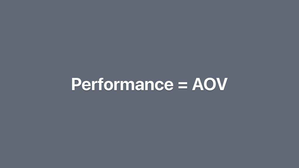 Performance = AOV