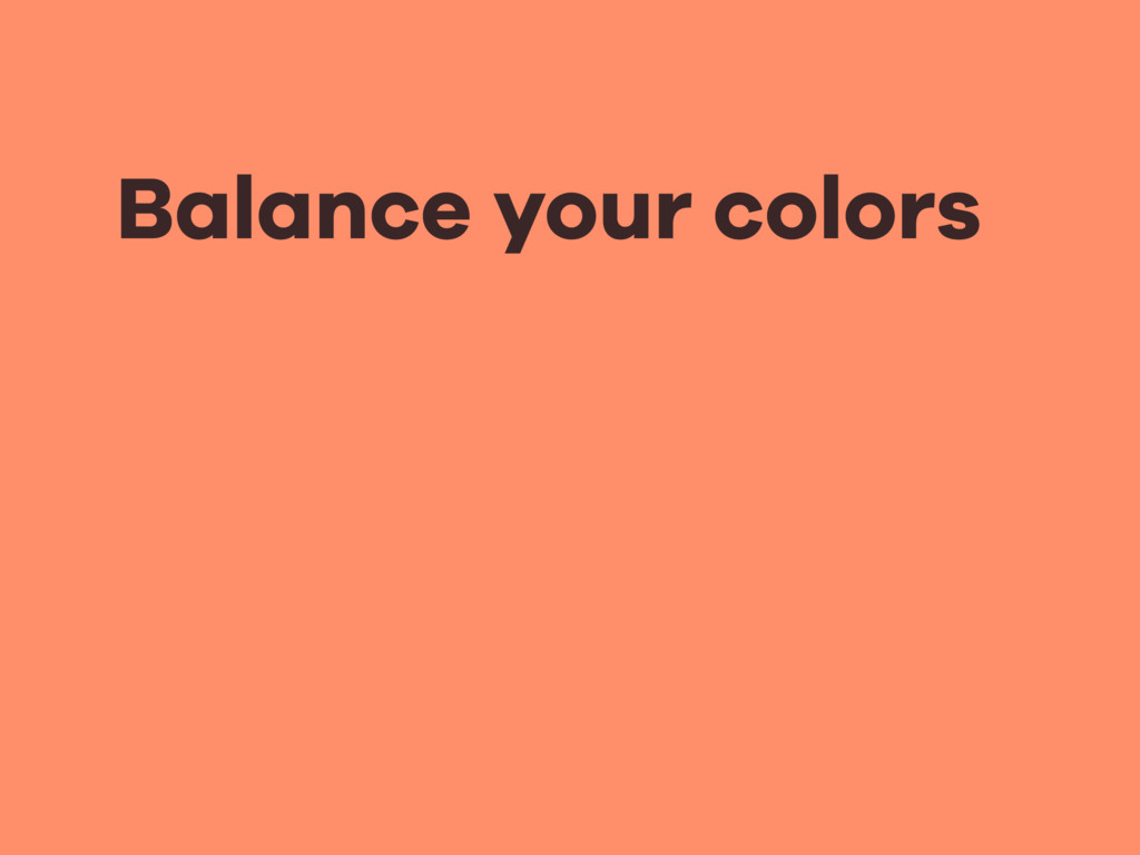 Balance your colors