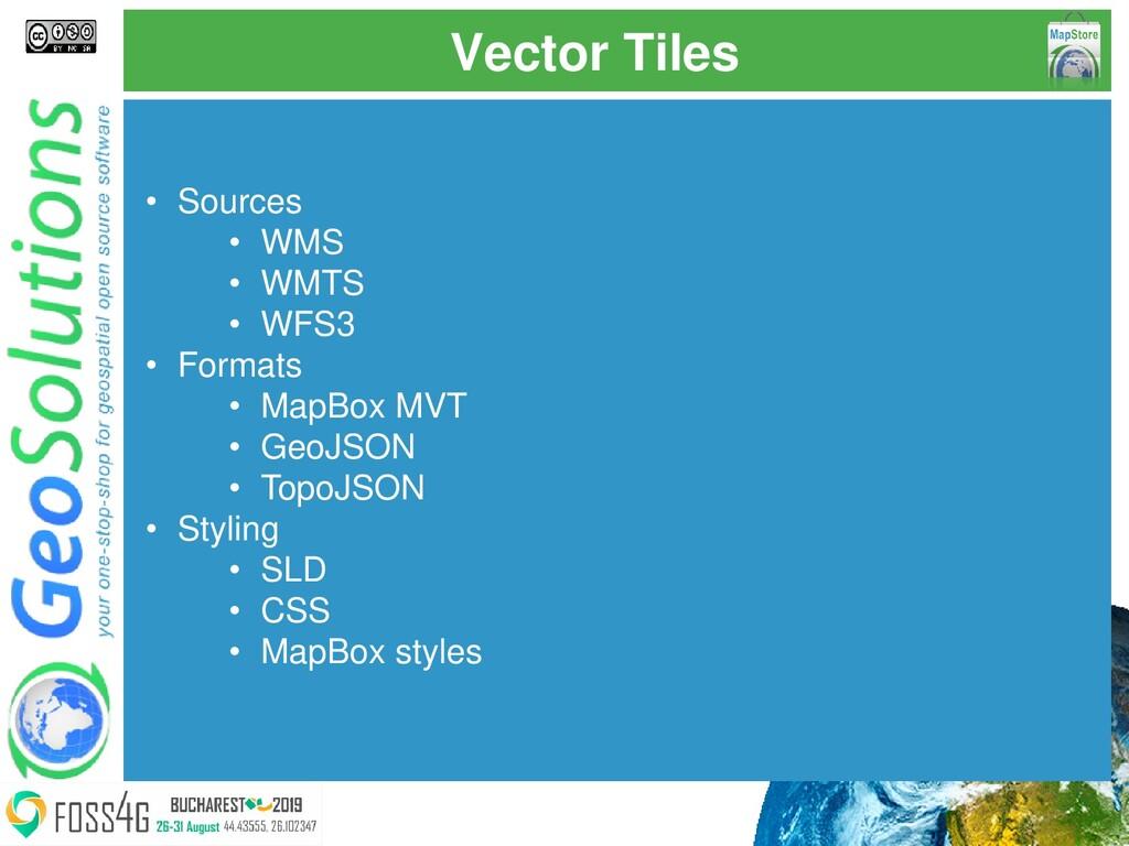 Vector Tiles • Sources • WMS • WMTS • WFS3 • Fo...