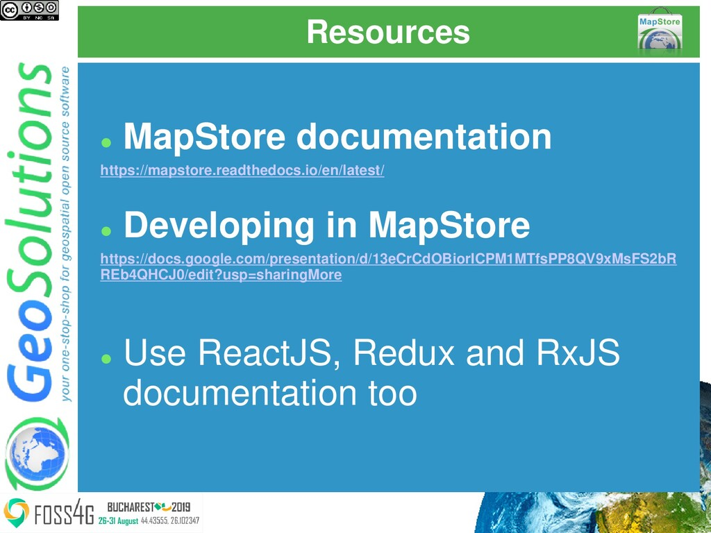 Resources ⚫ MapStore documentation https://maps...