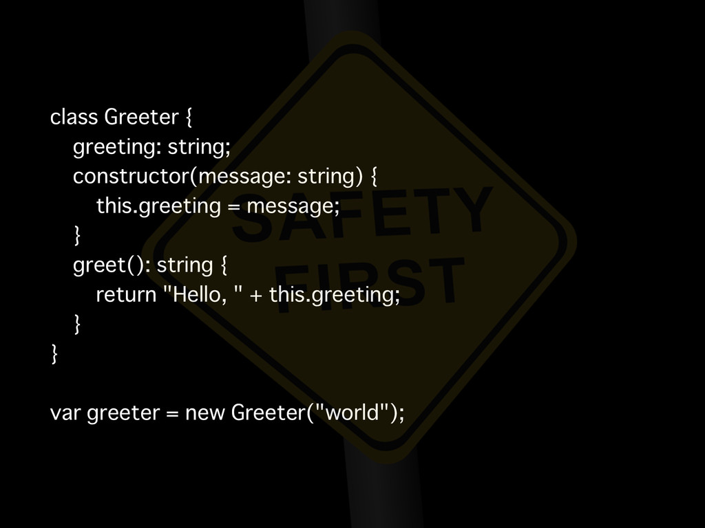 class Greeter { greeting: string; constructor(m...