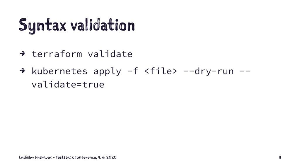 Syntax validation 4 terraform validate 4 kubern...