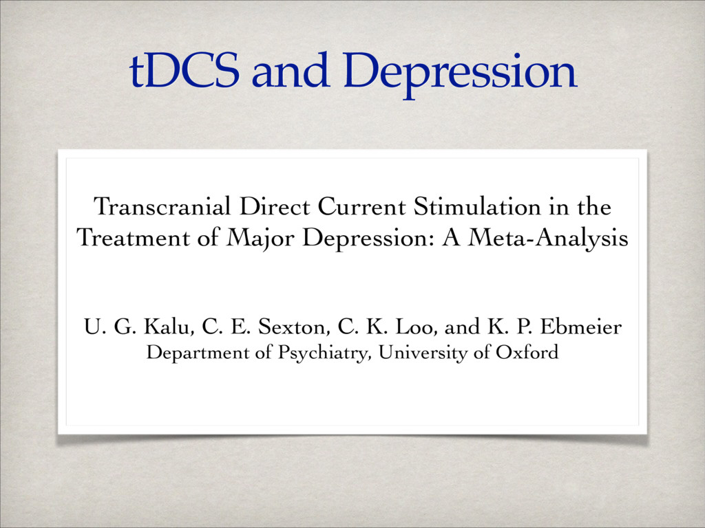tDCS and Depression ! Transcranial Direct Curre...