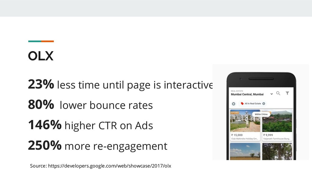 OLX 23% less time until page is interactive 80%...
