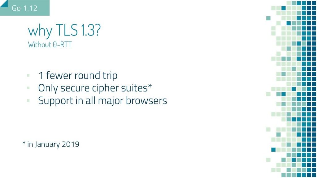 why TLS 1.3? Without 0-RTT ▪ 1 fewer round trip...