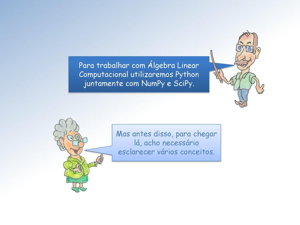 Para trabalhar com Álgebra Linear Computacional...