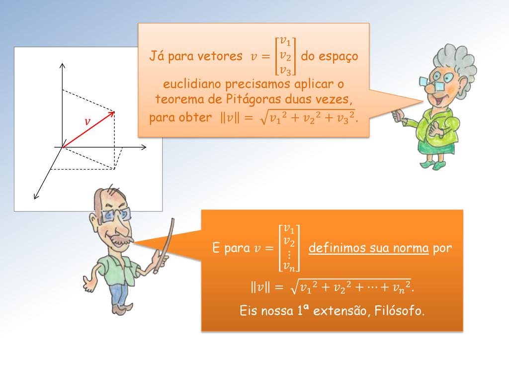 v Já para vetores  = 1 2 3 do espaço euclidiano...