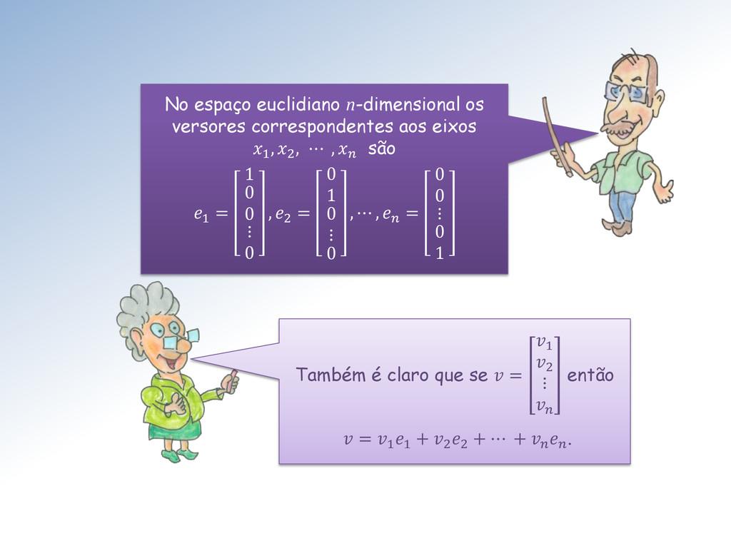No espaço euclidiano n-dimensional os versores ...