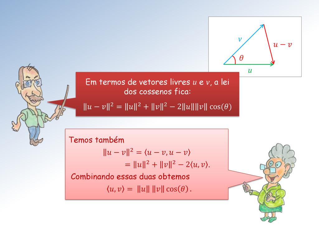 θ v u  −  Em termos de vetores livres u e v, a ...