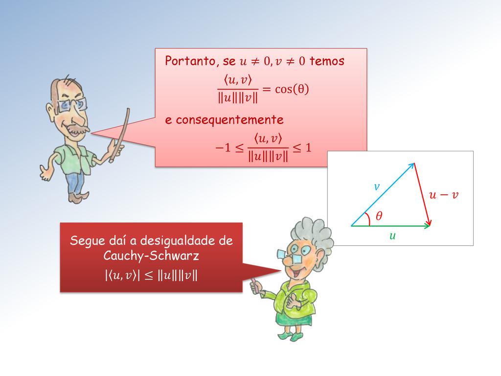 Portanto, se  ≠ 0,  ≠ 0 temos ,    = cos θ e co...