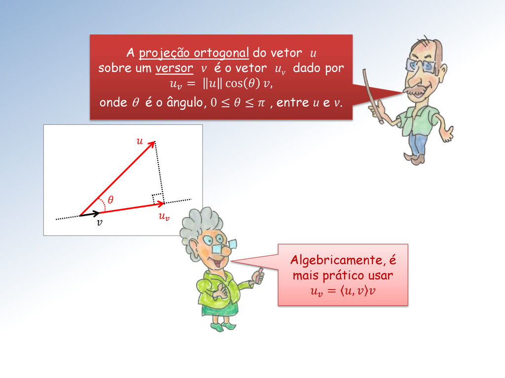 A projeção ortogonal do vetor u sobre um ve...