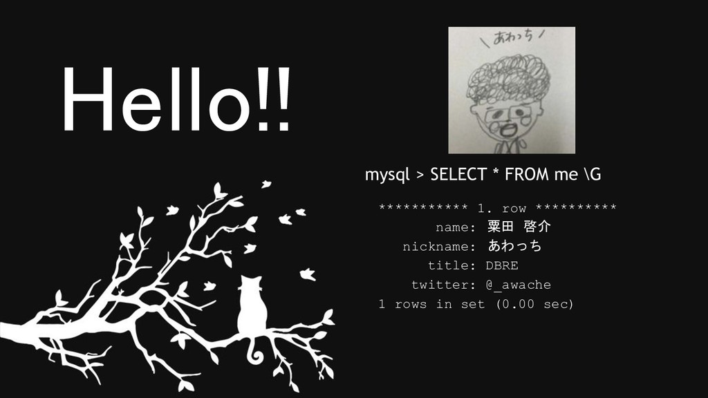 Hello!! *********** 1. row ********** name: 粟田...