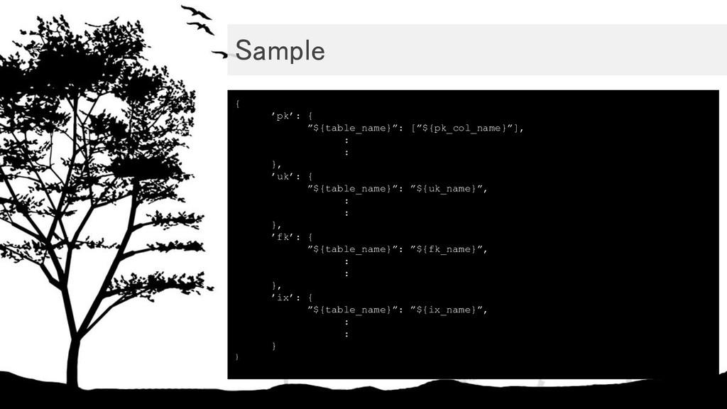 "Sample { 'pk': { ""${table_name}"": [""${pk_col_n..."