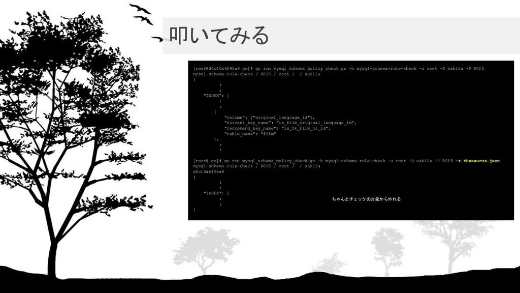 叩いてみる [root@d4c10a6f95a9 go]# go run mysql_sch...