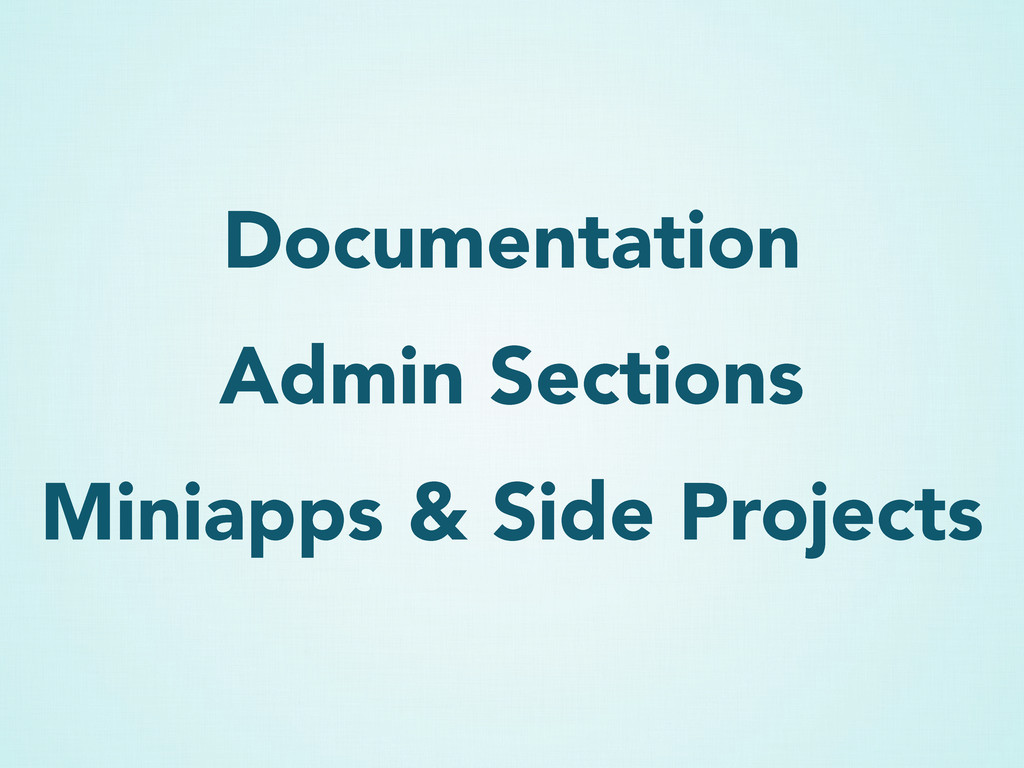 Documentation Admin Sections Miniapps & Side Pr...