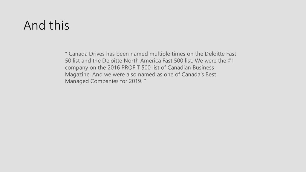 """And this """" Canada Drives has been named multipl..."""