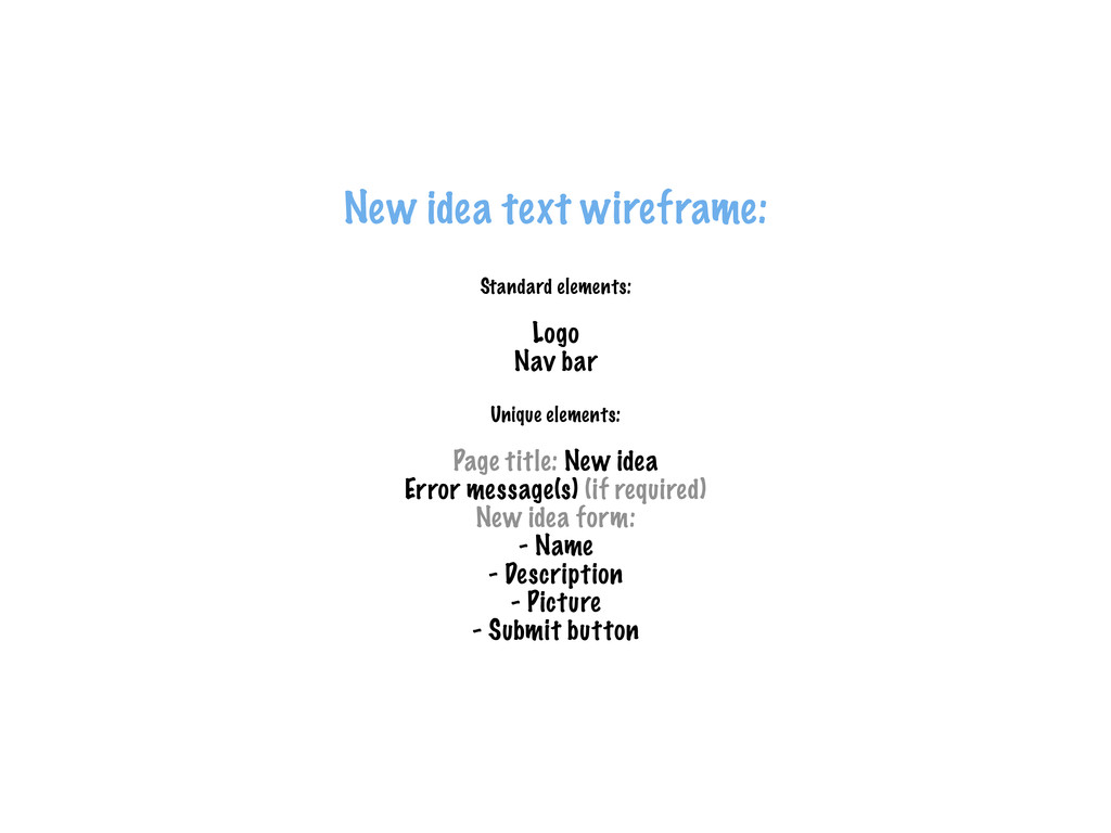 New idea text wireframe: Standard elements: Log...