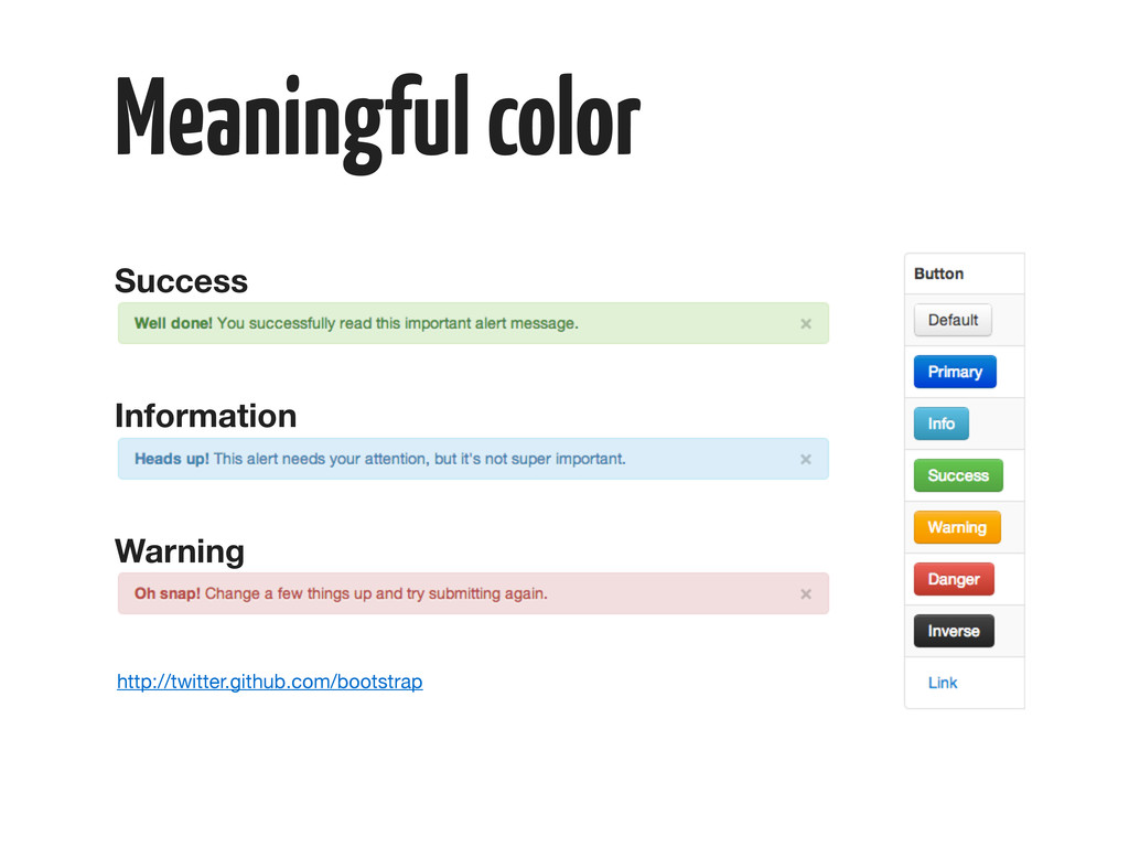 Meaningful color Success Information Warning ht...