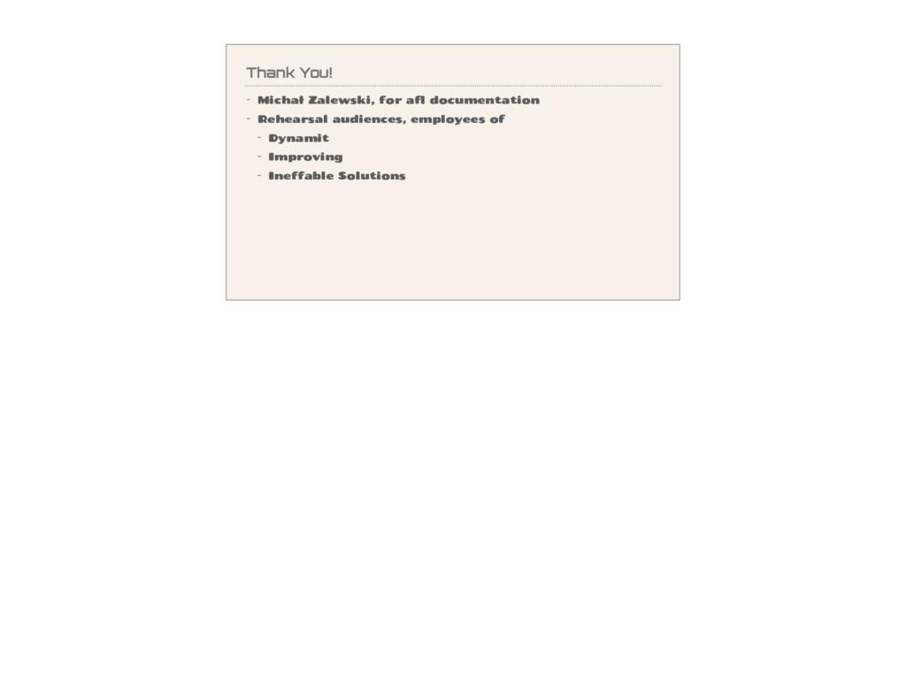 Thank You! - Michał Zalewski, for afl documenta...