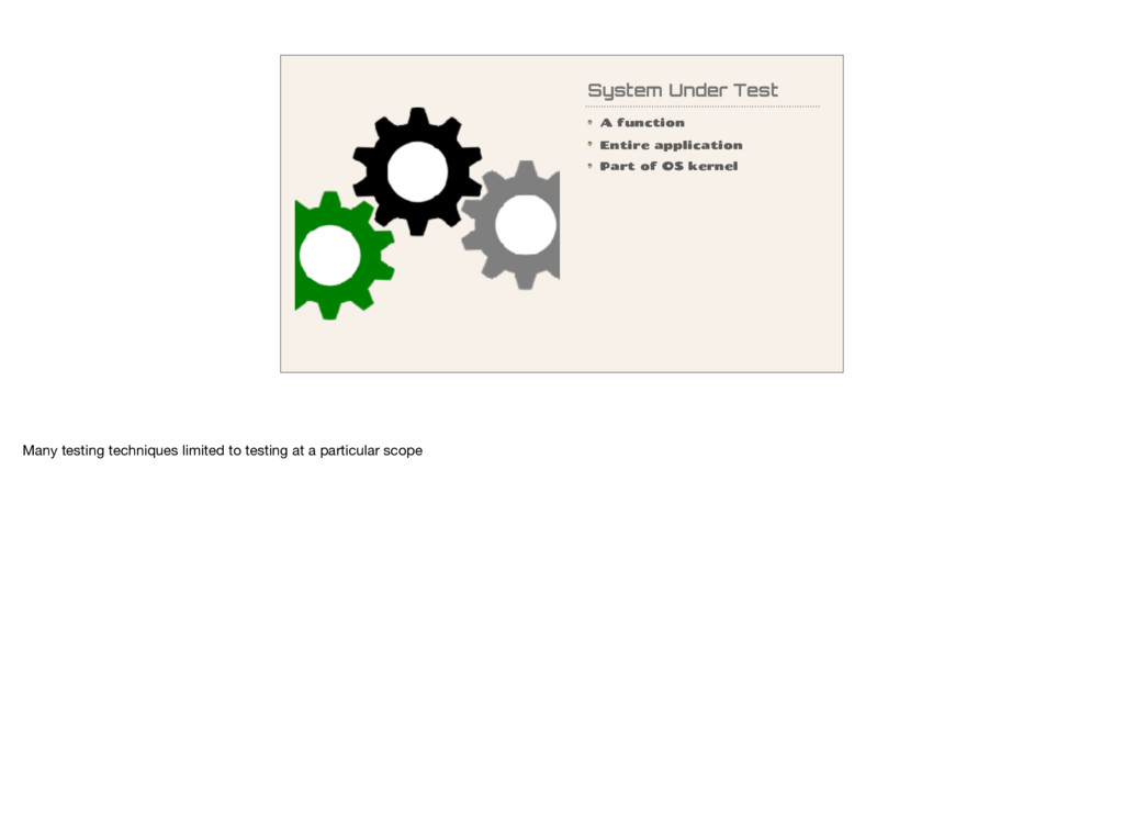 System Under Test A function Entire application...