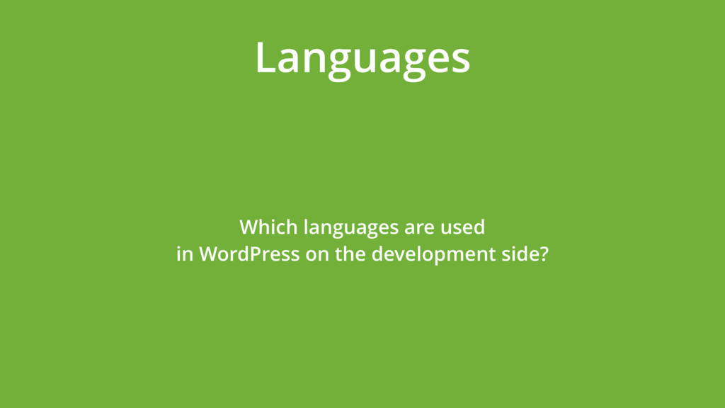 Languages Which languages are used  in WordPre...