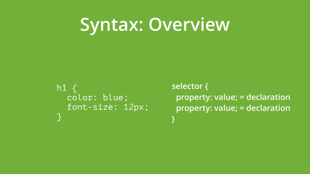 Syntax: Overview h1 { color: blue; font-size:...