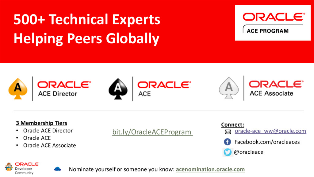 3 Membership Tiers • Oracle ACE Director • Orac...