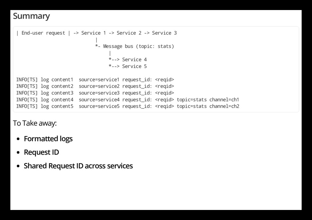 Summary | End-user request | -> Service 1 -> Se...