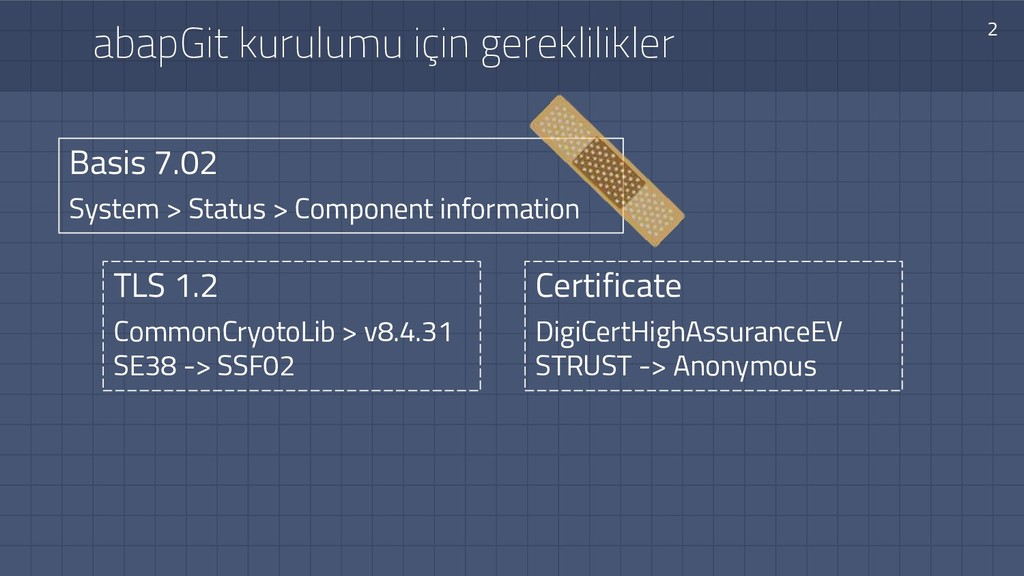 abapGit kurulumu için gereklilikler 2 Basis 7.0...