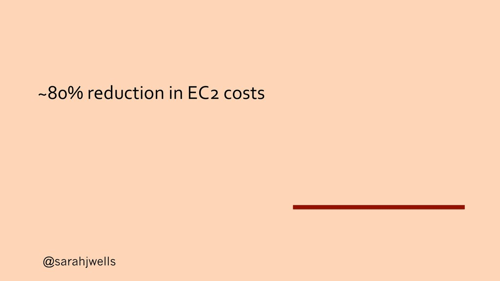 @sarahjwells ~80% reduction in EC2 costs