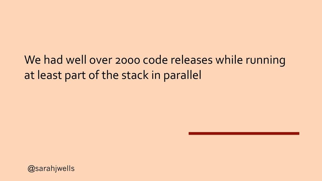 @sarahjwells We had well over 2000 code release...