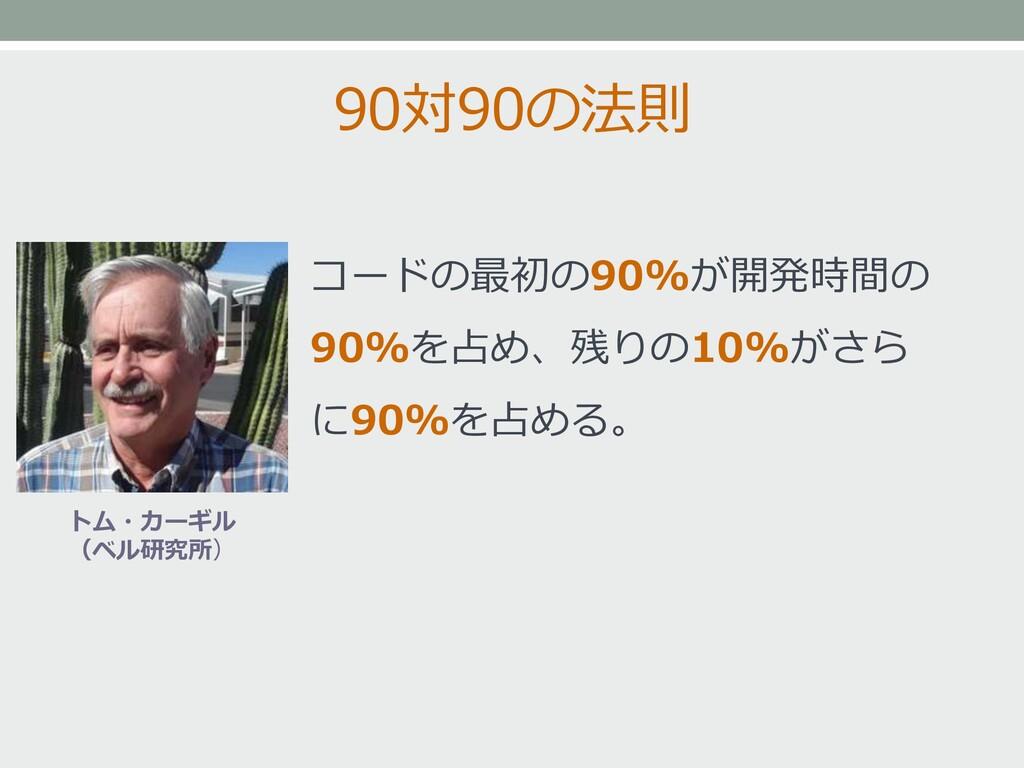 90対90の法則 コードの最初の90%が開発時間の 90%を占め、残りの10%がさら に90%...