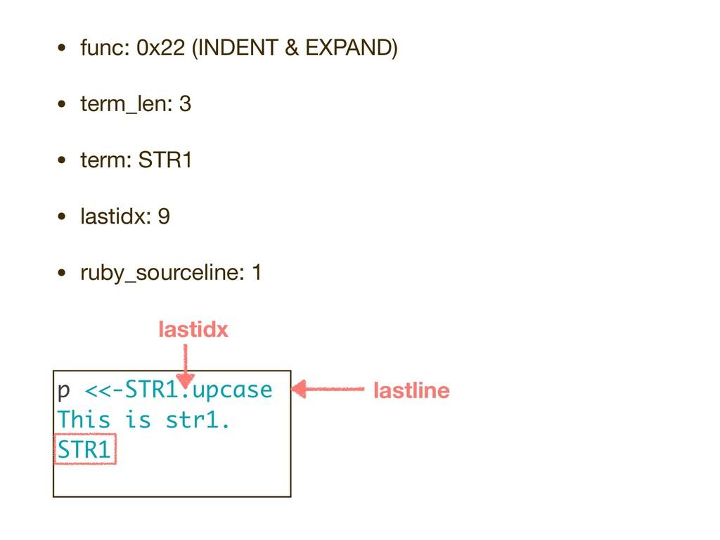 • func: 0x22 (INDENT & EXPAND)  • term_len: 3  ...