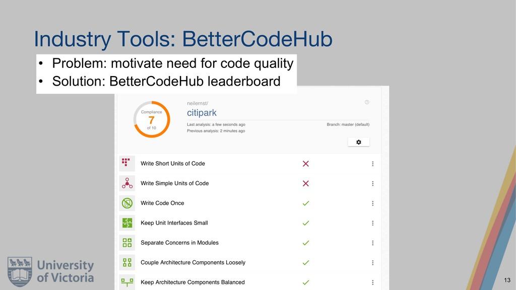 Industry Tools: BetterCodeHub • Problem: motiva...