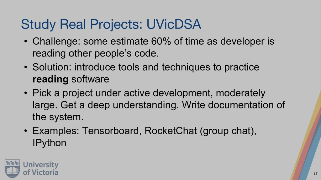 Study Real Projects: UVicDSA • Challenge: some ...