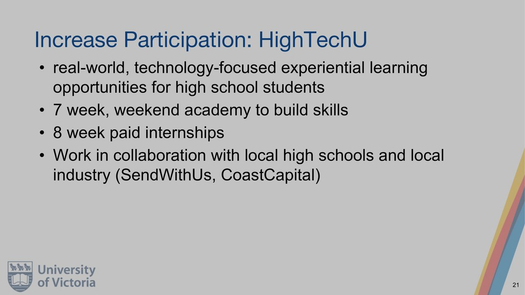 Increase Participation: HighTechU • real-world,...