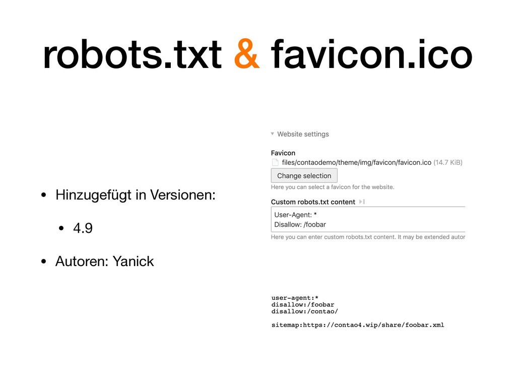 robots.txt & favicon.ico • Hinzugefügt in Versi...