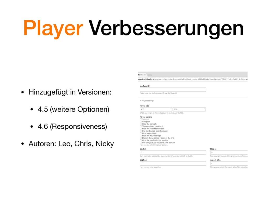 Player Verbesserungen • Hinzugefügt in Versione...