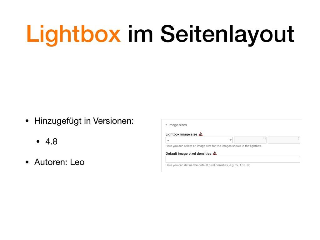 Lightbox im Seitenlayout • Hinzugefügt in Versi...