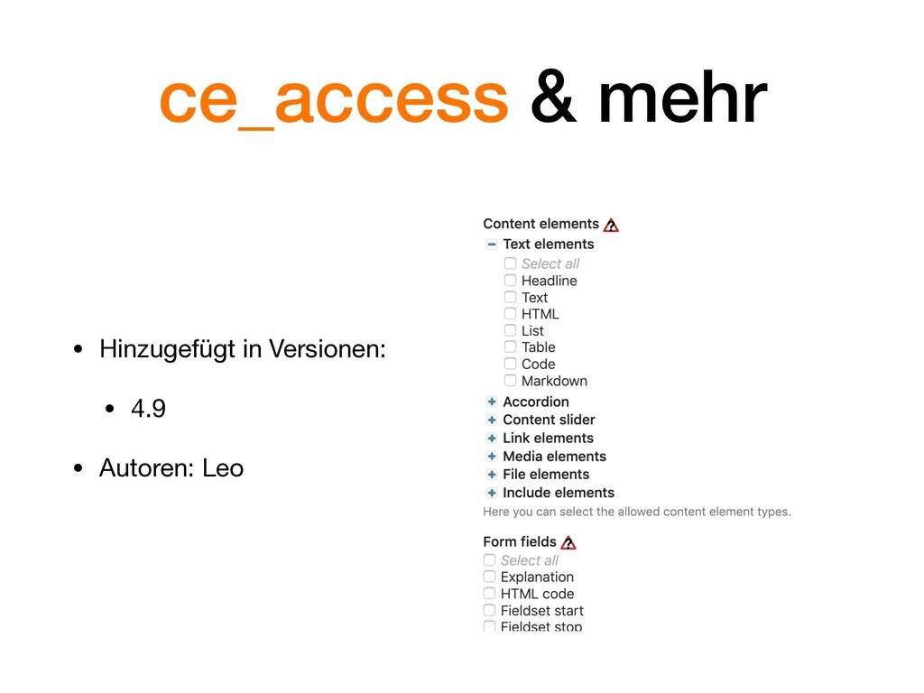 ce_access & mehr • Hinzugefügt in Versionen:  •...