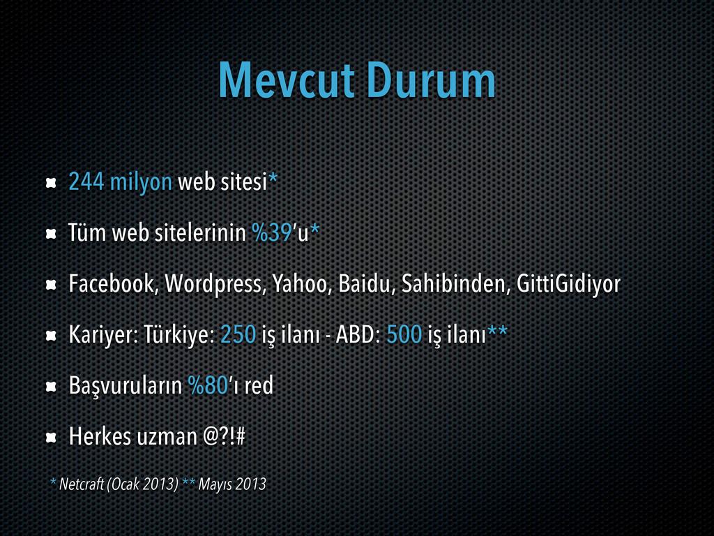 Mevcut Durum 244 milyon web sitesi* Tüm web sit...