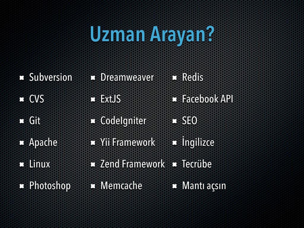 Uzman Arayan? Subversion CVS Git Apache Linux P...