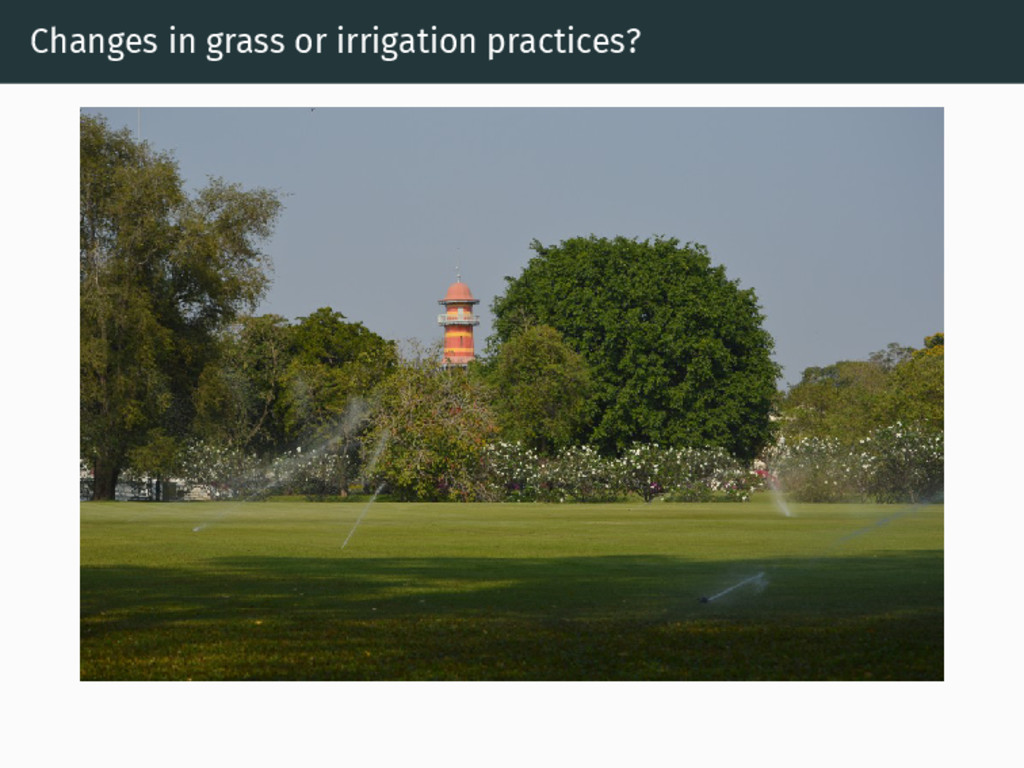 Changes in grass or irrigation practices?