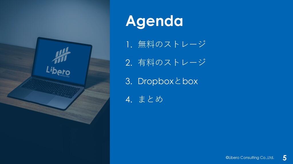 Agenda ©Libero Consulting Co.,Ltd. 5 1. 無料のストレー...