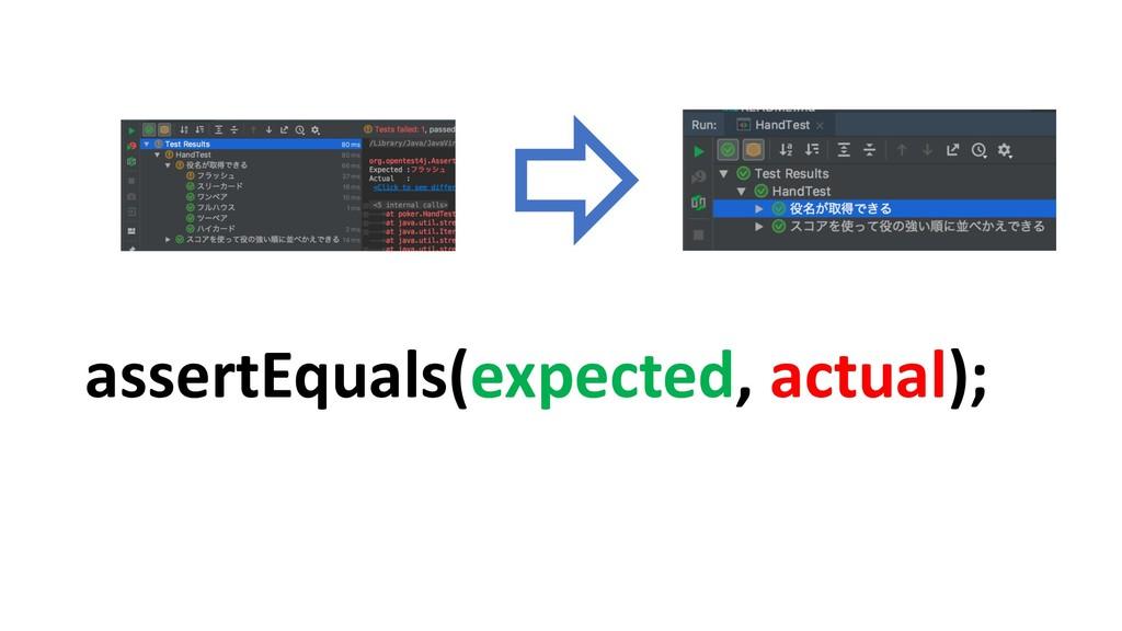 assertEquals(expected, actual);