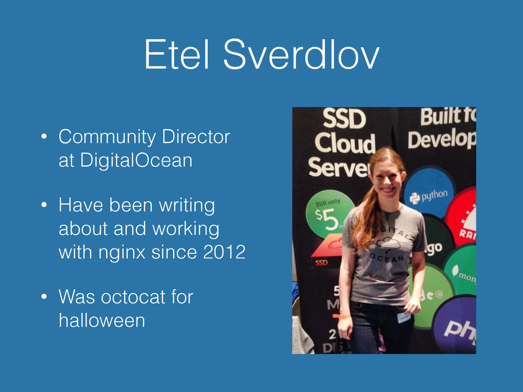 Etel Sverdlov • Community Director at DigitalOc...
