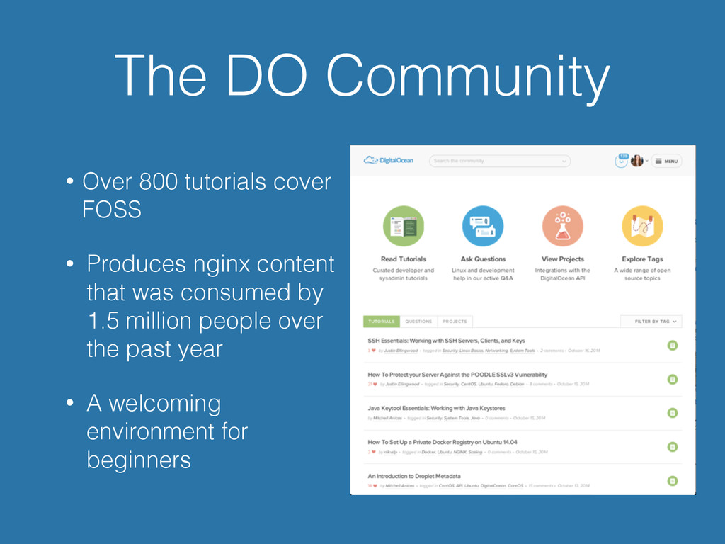 The DO Community • Over 800 tutorials cover FOS...
