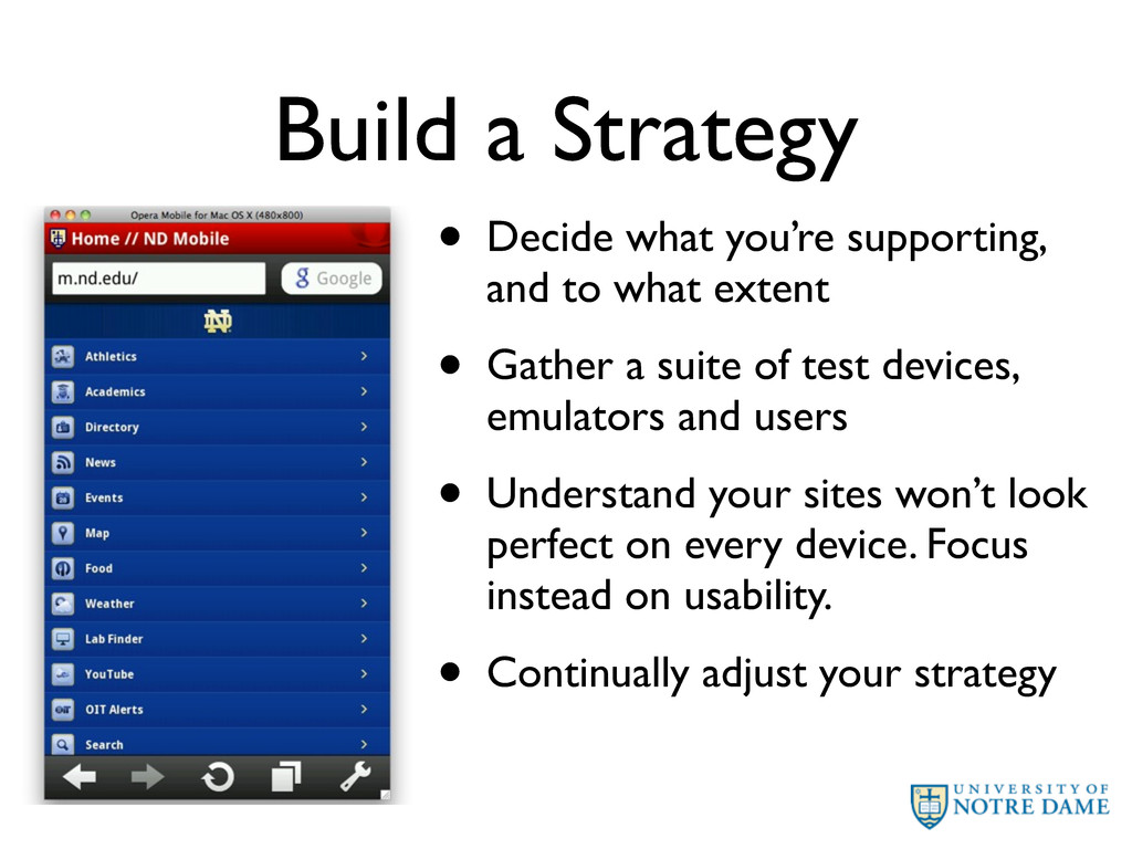 Build a Strategy • Decide what you're supportin...