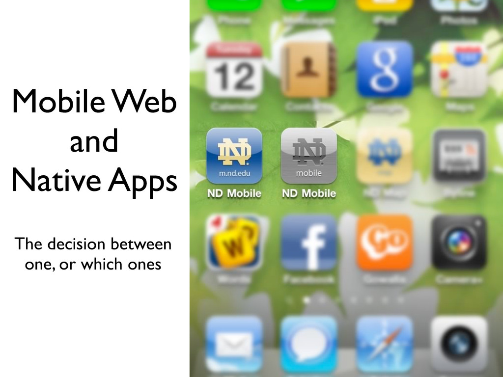 Mobile Web and Native Apps The decision between...
